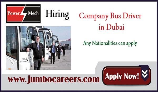 company bus driver jobs for Indians, UAE urgent jobs listing,
