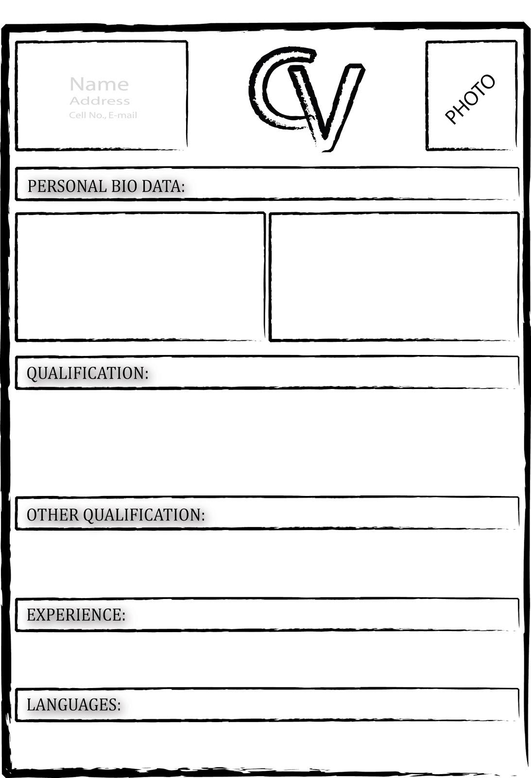 curriculum vitae  curriculum vitae template blank