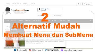 2 Alternatif mudah membuat menu dan sub menu blog