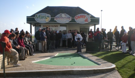 Richard Gottfried teeing-off in the final of the 2009 'Castle Golf' World Crazy Golf Championships in Hastings