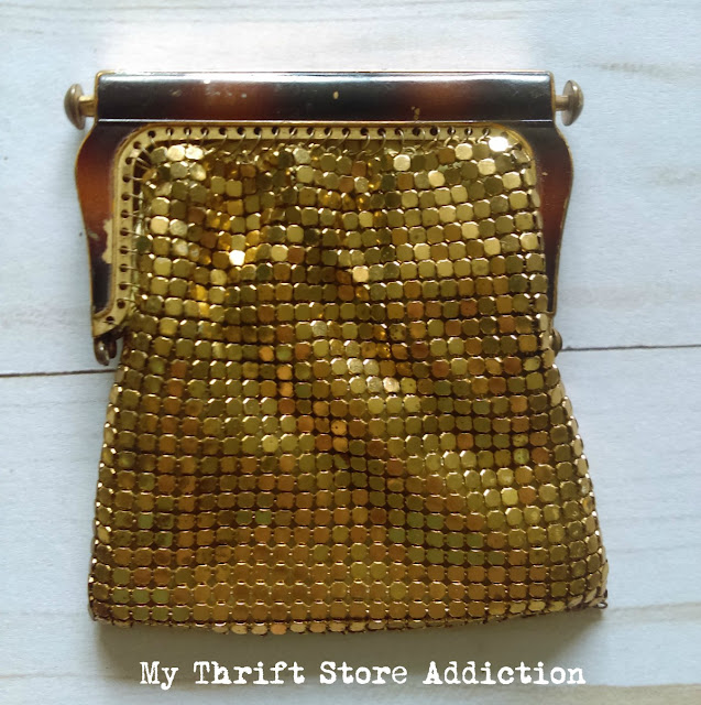 Made in US zone Germany vintage gold mesh bag