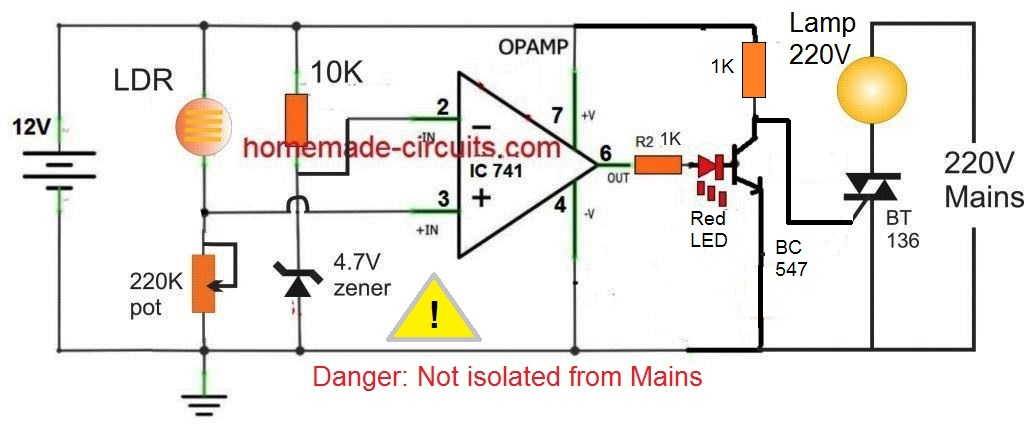 How To Make A Simple Led Automatic Daynight L Homemade. Op Controlled Darkness Detector L Circuit. Wiring. Day Night Switch Wiring Diagram 12v At Scoala.co