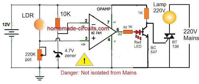 opamp amp controlled darkness detector lamp circuit