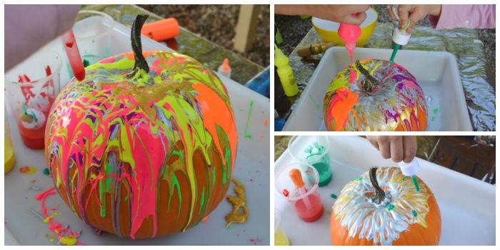 actividades, manualidades niños motricidad fina otoño, pintar calabazas con cuentagotas