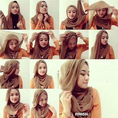 Tutorial Hijab Turban Segi Empat Modern Gaya #21 Layer Drappery Mermaid