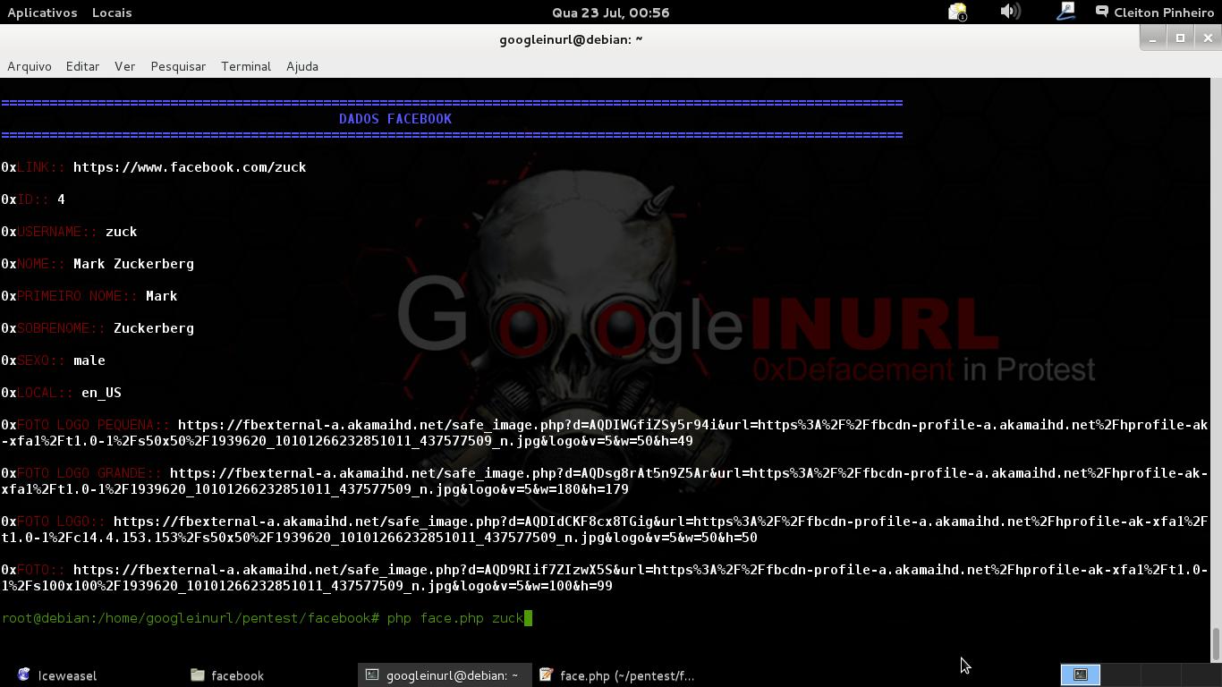INURLBR API face V1.0 - PESQUISA DE DADOS PUBLICOS FACEBOOK