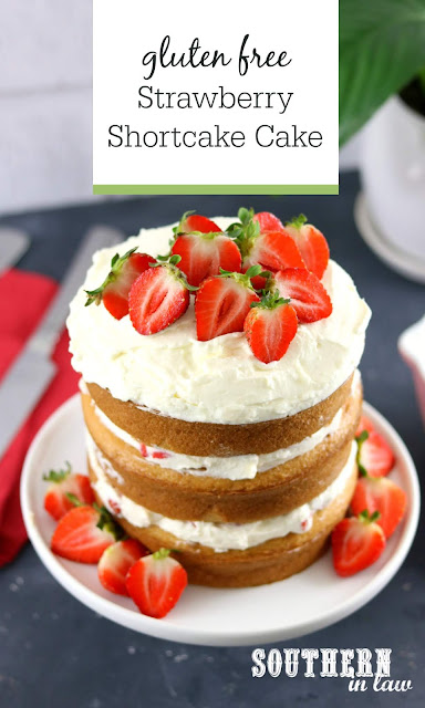 Easy Gluten Free Strawberry Shortcake Birthday Cake with Whipped Cream Frosting - gluten free, nut free, gluten free vanilla cake, easy birthday cake recipes