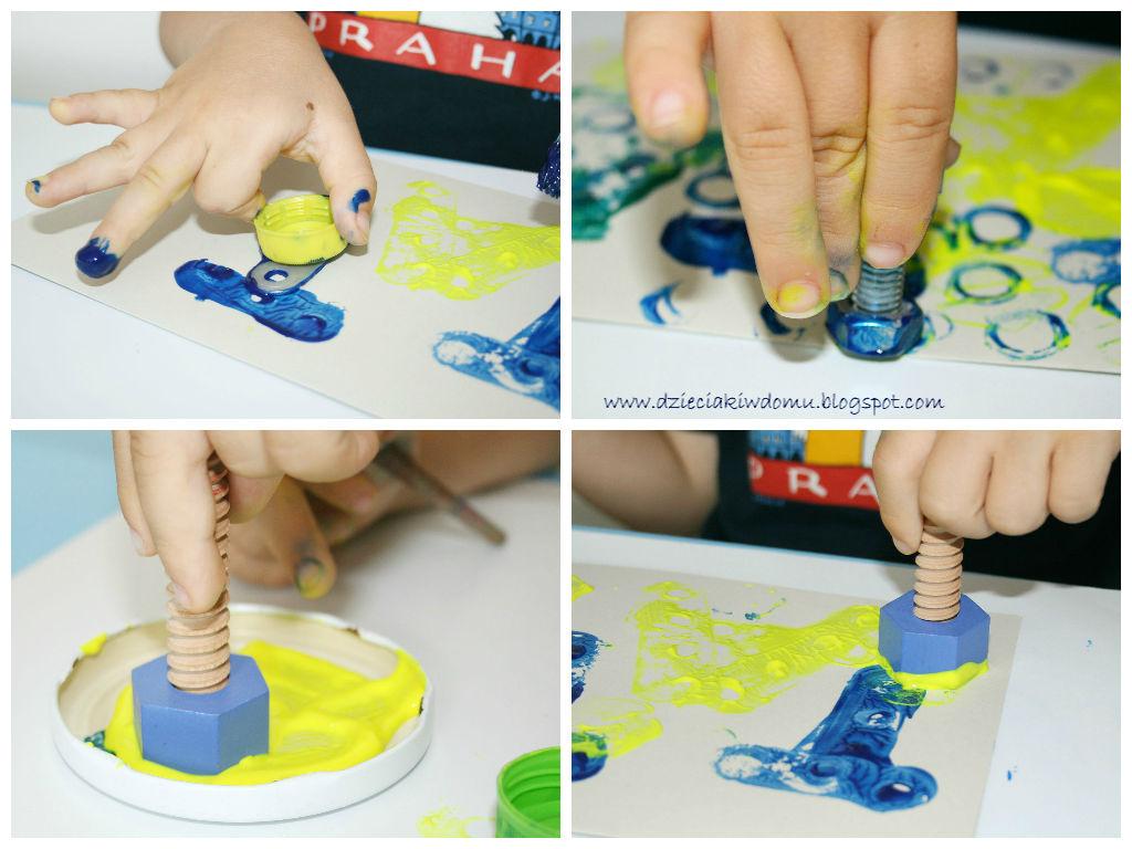 Laurka dla taty,kreatywna stempelkowa zabawa dla dzieci