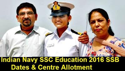 Indian Navy SSC Education 2016 SSB Dates & Centre Allotment