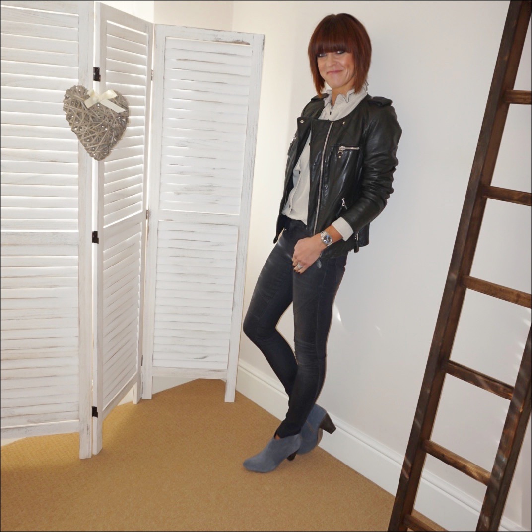 my midlife fashion, isabel marant etoile leather biker jacket, isabel marant etoile frill collar blouse, hush biker jeans, hush thornton ankle boots