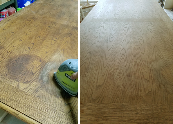 Using a ryobi sander to sand away stain spots from wooden tabletop