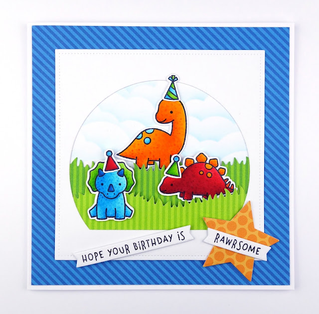 Handmade dinosaur birthday party card, using Rawrsome stamps and dies by Lawn Fawn
