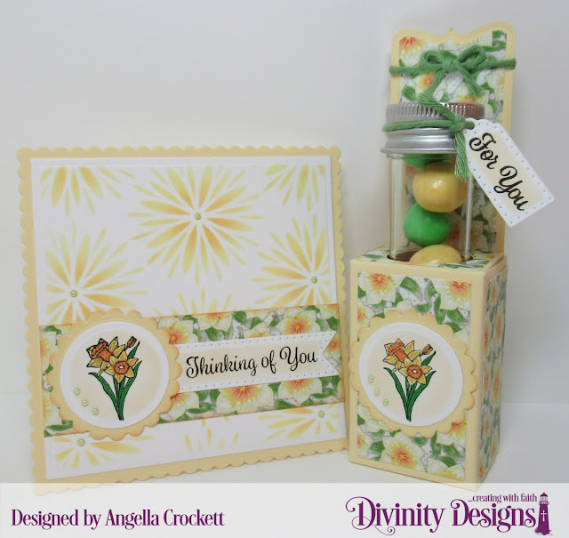 Divinity Designs: Test Tube Treats Dies, Test Tubes - Small, Test Tube Treat Stamps, Treat Tag Sentiments 3, Flower Burst Mixed Media Stencil, Scalloped Circles Dies, Circles Dies, Scalloped Squares Dies, Squares Dies, Spring Flower Paper Collection 2019, Card Designer Angie Crockett