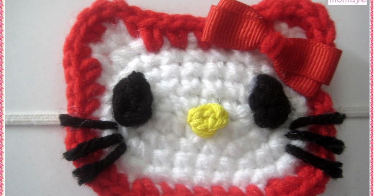 Crochet Hello Kitty Face Headband