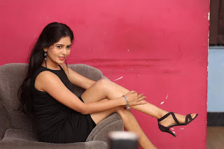 Actress Madhumitha Latest Picture Gallery in Black Short Dress  0040