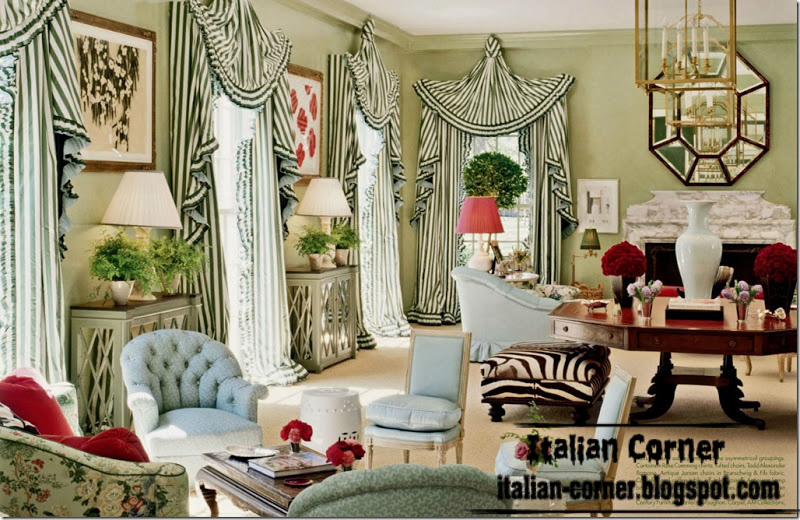 Luxury Italian Curtain Design From Green Striped Curtain Fabric
