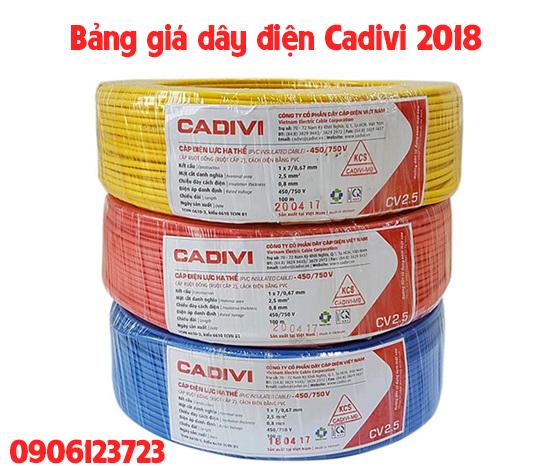 Bảng giá dây điện Cadivi các loại chiết khấu 2018 - 2019 mới nhất