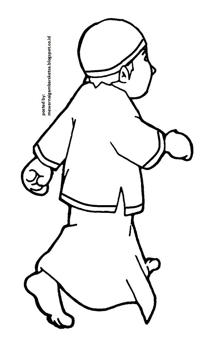 Mewarnai Gambar Kartun Anak Mengaji Cicak Diwarnai