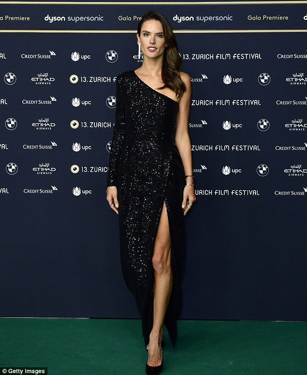 Alessandra Ambrosio sizzles in glittering one-shouldered gown at Zurich Film Festival