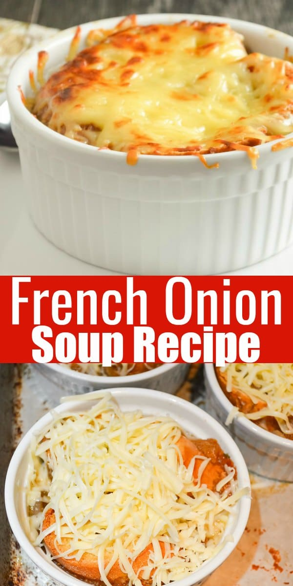 The BEST French Onion Soup in a hearty beef bone broth with red wine and thyme covered with gruyere cheese from Serena Bakes Simply From Scratch.