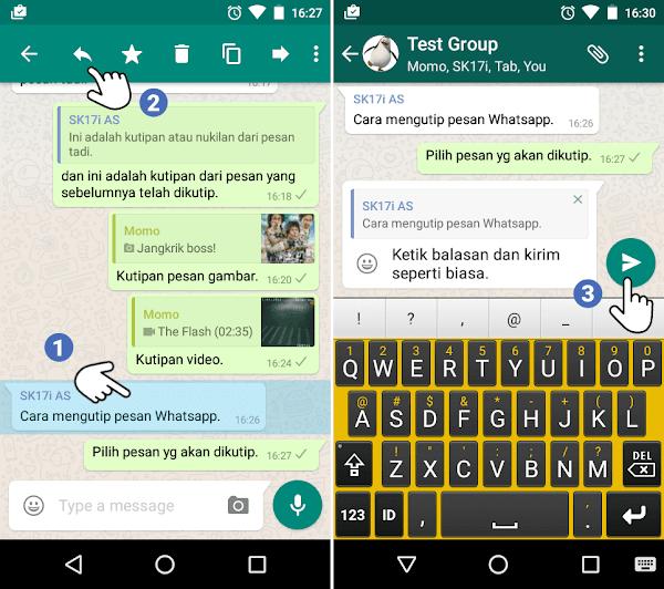 Cara mengutip pesan WhatsApp ke dalam pesan balasan kita