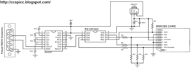 Interfacing PIC12F1822 MCU with SD card circuit
