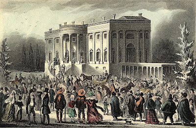 Crowd in front of White House during Andrew Jackson's first inaugural