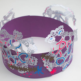 make snowflake doily crowns- cute winter craft for kids
