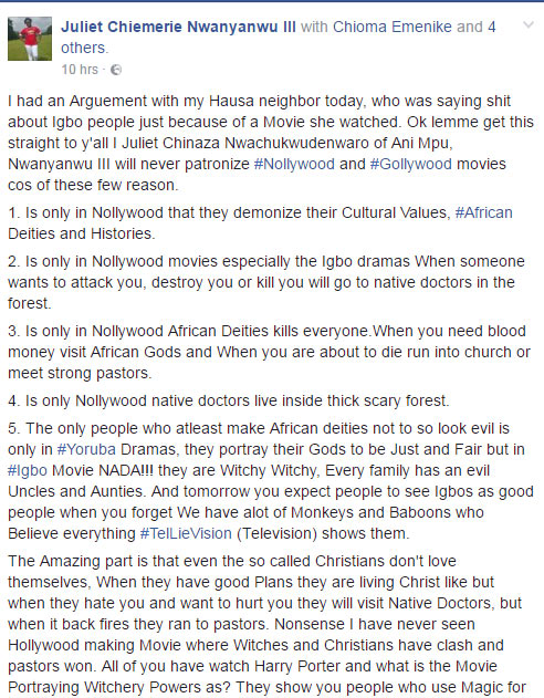 Juliet Chiemerie says she'll never watch a Nollywood movie again because of this