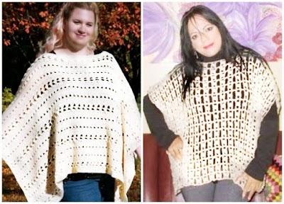 2 Ponchos rectos iguales pero con puntos a crochet diferentes
