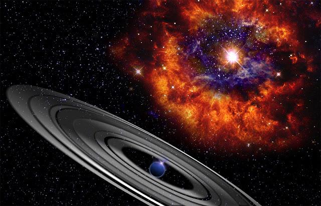Estrela PDS 110 e possível planeta com anéis que a orbita - ilustração