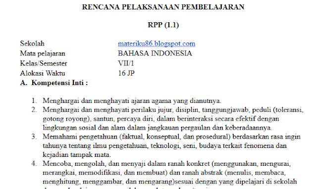 Rpp Bahasa Indonesia Kelas 7 Kurikulum 2013 Revisi 2018 Materiku