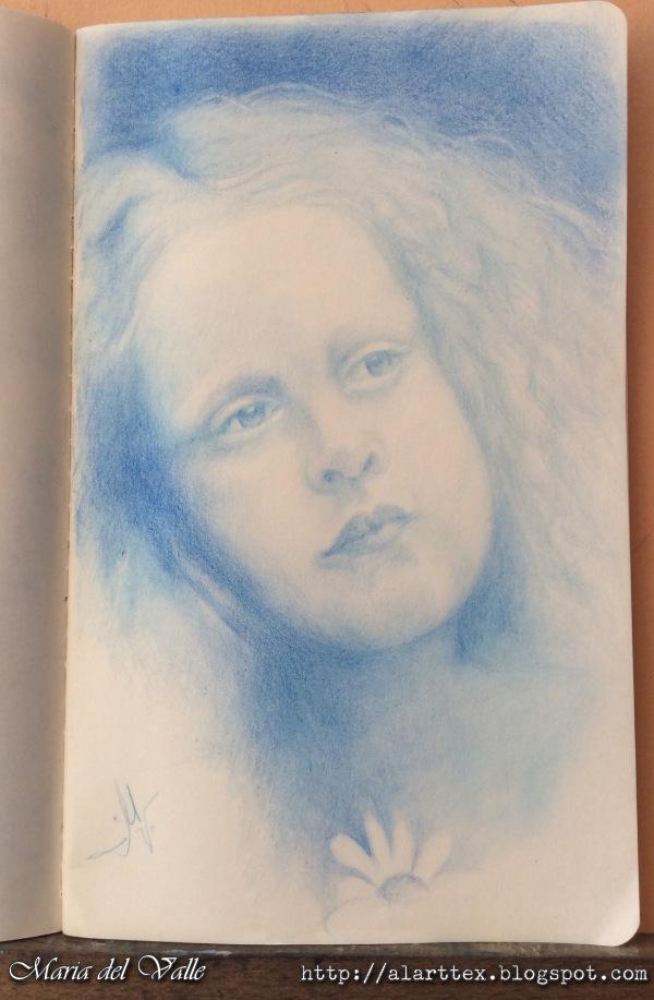 Portrait a little girl in blue