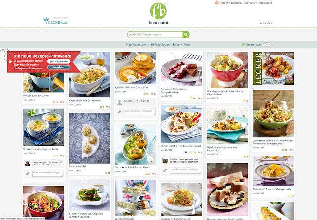 Übersicht Startseite lecker.de-Foodboard