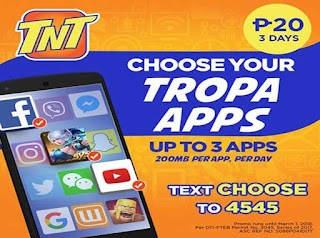 Talk N Text CHOOSE up to 3 Apps Promo - 20 Pesos Valid for 3 Days
