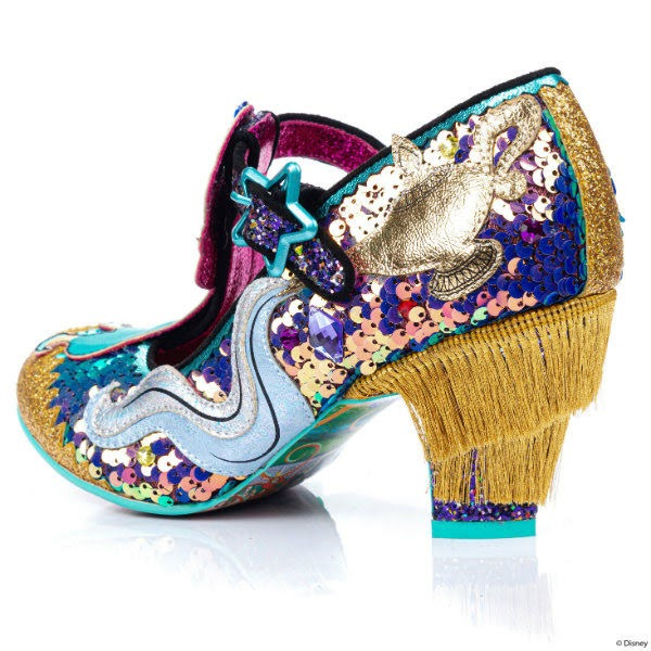 gold fringed heel shoe with sequins uppers