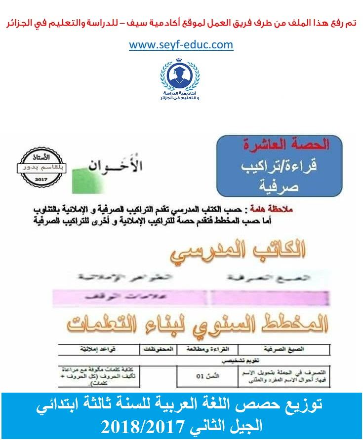 توزيع حصص اللغة العربية حسب ايقونات الكتاب المدرسي للسنة ثالثة ابتدائي