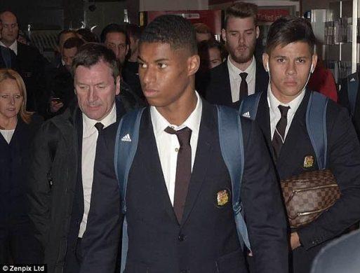 Angry/sad looking Man U players & Jose Mourinho arrive back home after 4-0 loss to Chelsea (photos)