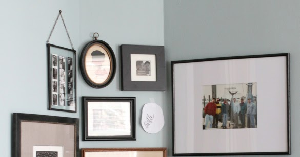 Corner gallery wall how to hang art on a curved wall 17 - How to hang wall art ...