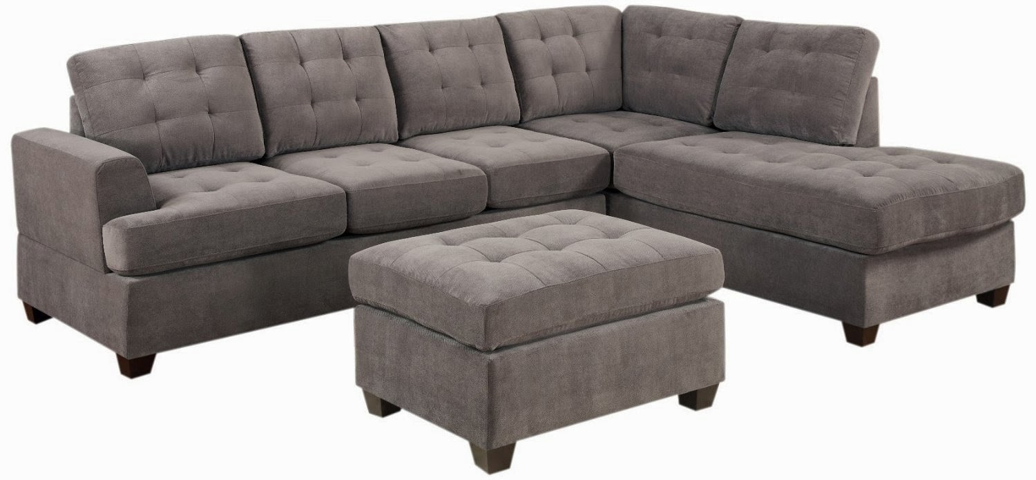 3-Piece Reversible Sectional with Ottoman Sofa Set  sc 1 st  microfiber couch - blogger : microfiber couch sectional - Sectionals, Sofas & Couches