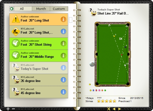 Today's super shot, practice makes it easy shot, billiard exercise diary, Billiard Practice Software