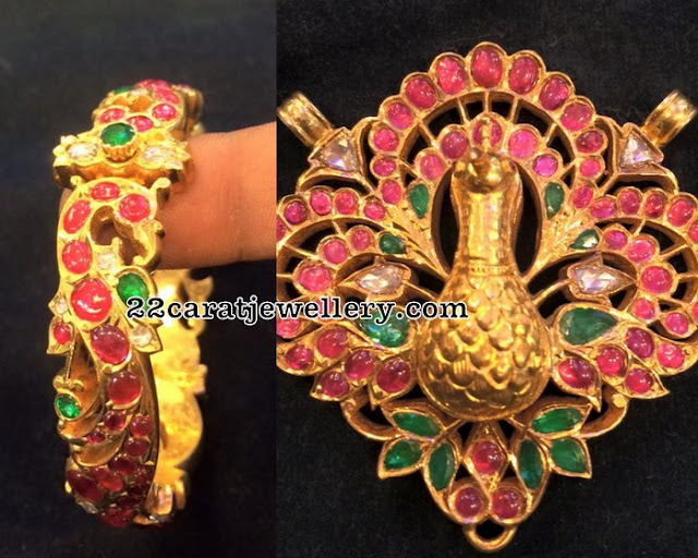 Ruby Peacock Pendant and Broad Kada