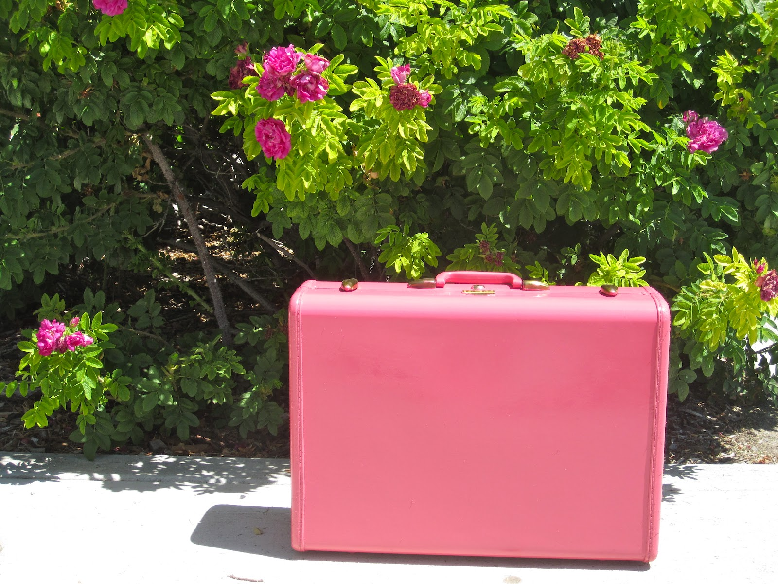Vintage Suitcase Painted Pink