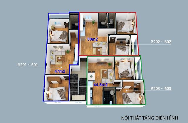 Mặt cắt 3 căn hộ trên một sàn thuộc tòa chung cư xóm 4C Đông Ngạc