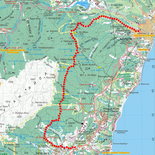 Карта маршрута Алушта – Ай-Йори – Бирюзовое озеро – Запрудное