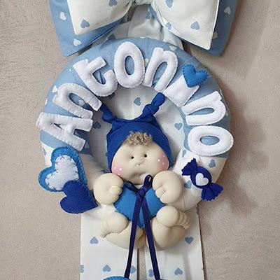 fiocco nascita bambino cotone azzurro cuoricini