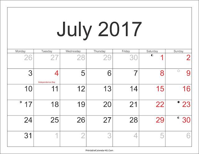 July 2017 Blank calendar, July 2017 calendar template