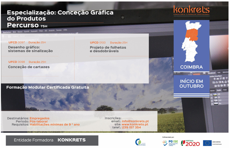 curso de conceção gráfica de produtos em Coimbra