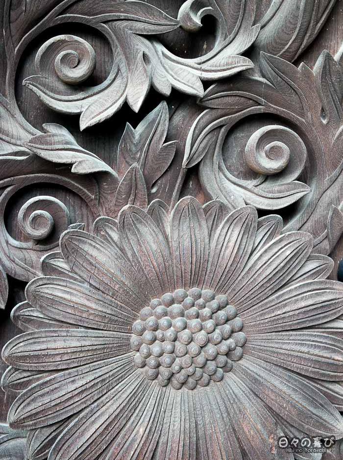 motif floral sculpté, détail, Higashi Hongan-ji, Kyoto