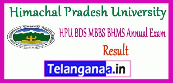 HPU Himachal Pradesh University BDS MBBS BHMS Annual 1st 2nd 3rd 4th Year Result